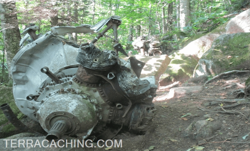 Airplane engine wreckage in forest