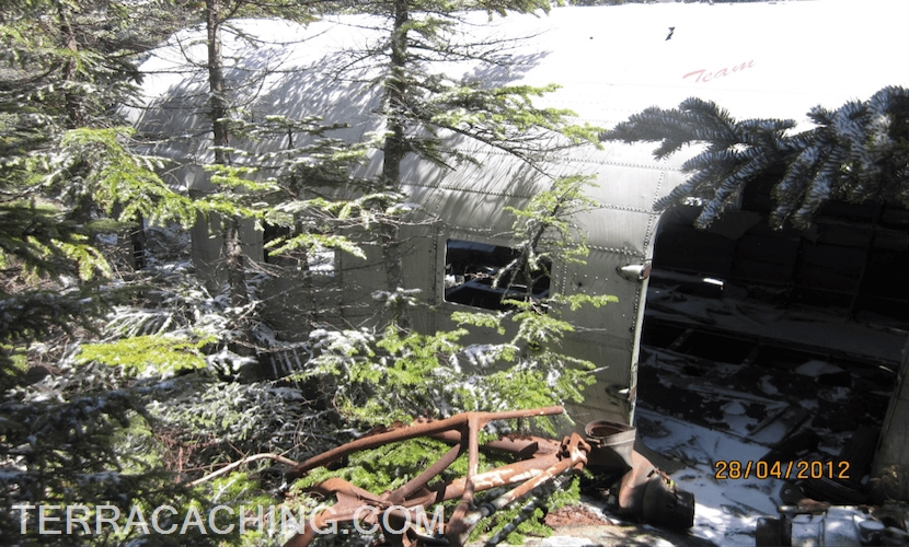 Airplane cabin wreckage in forest